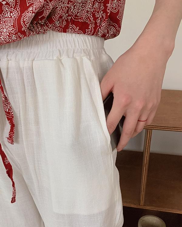 #made some high der banding linen pants