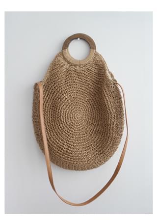 rattan natural round 2-way bag