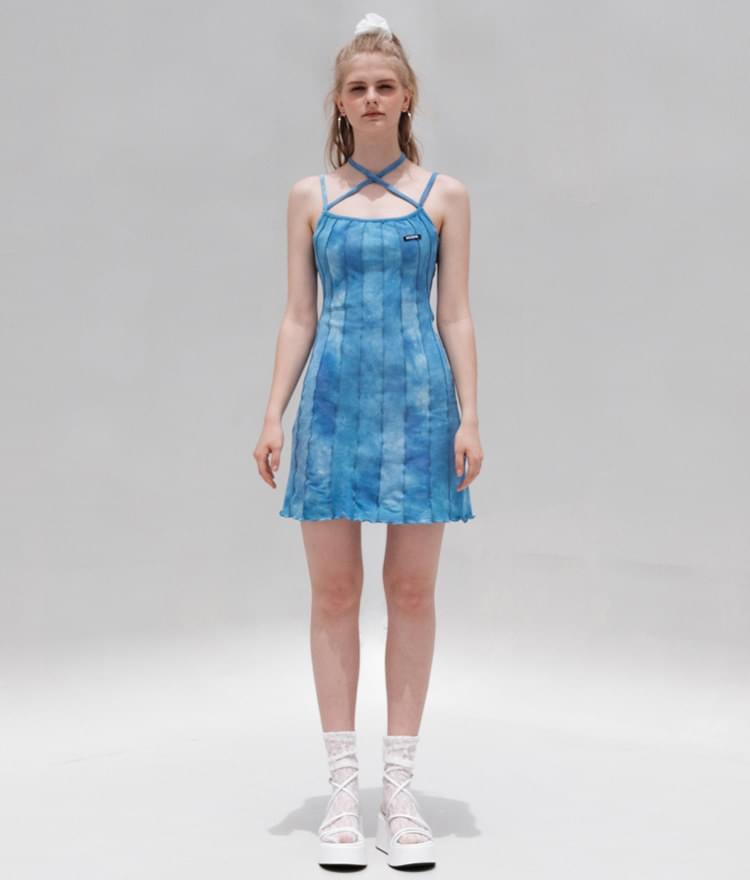 韓國空運 - HIDESky Blue Tie-Dye Strappy Dress 及膝洋裝