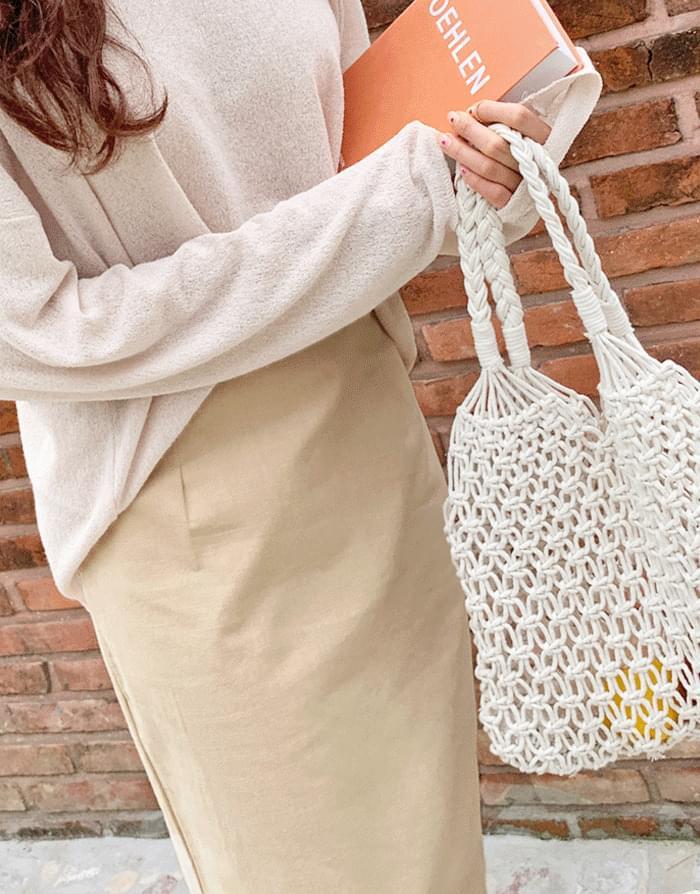 Maid Linen Slit Long Skirt