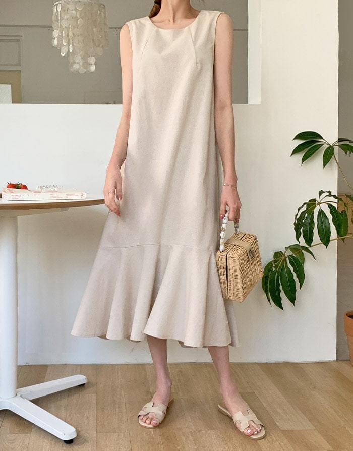 Eve Linen Ruffle Nashi Long Dress