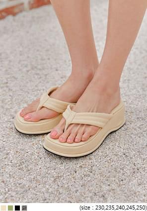 楔型厚底皮革夾腳拖鞋