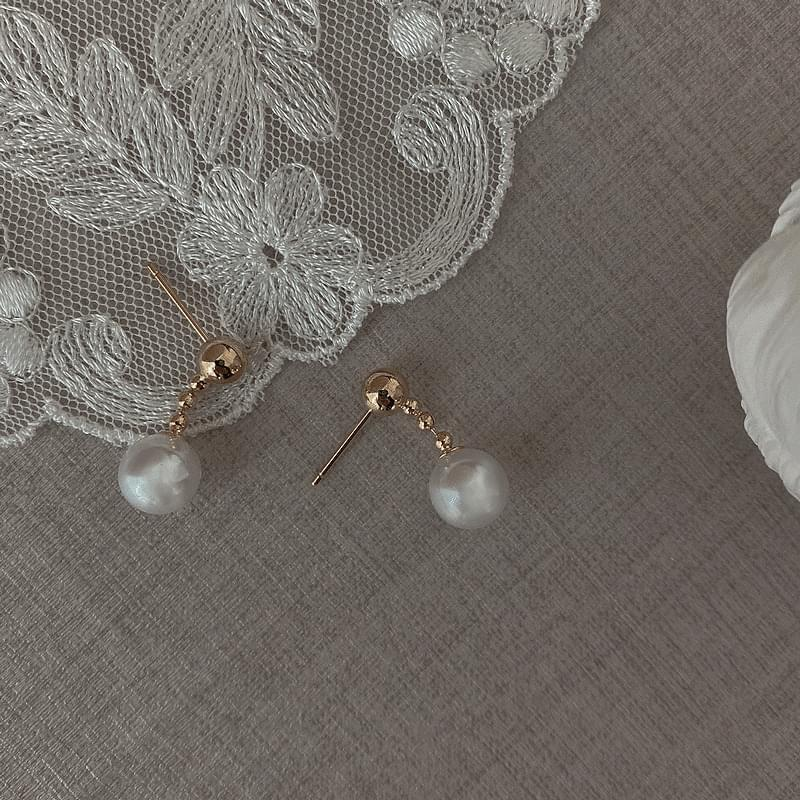 9668 gold ball drop pearl earrings