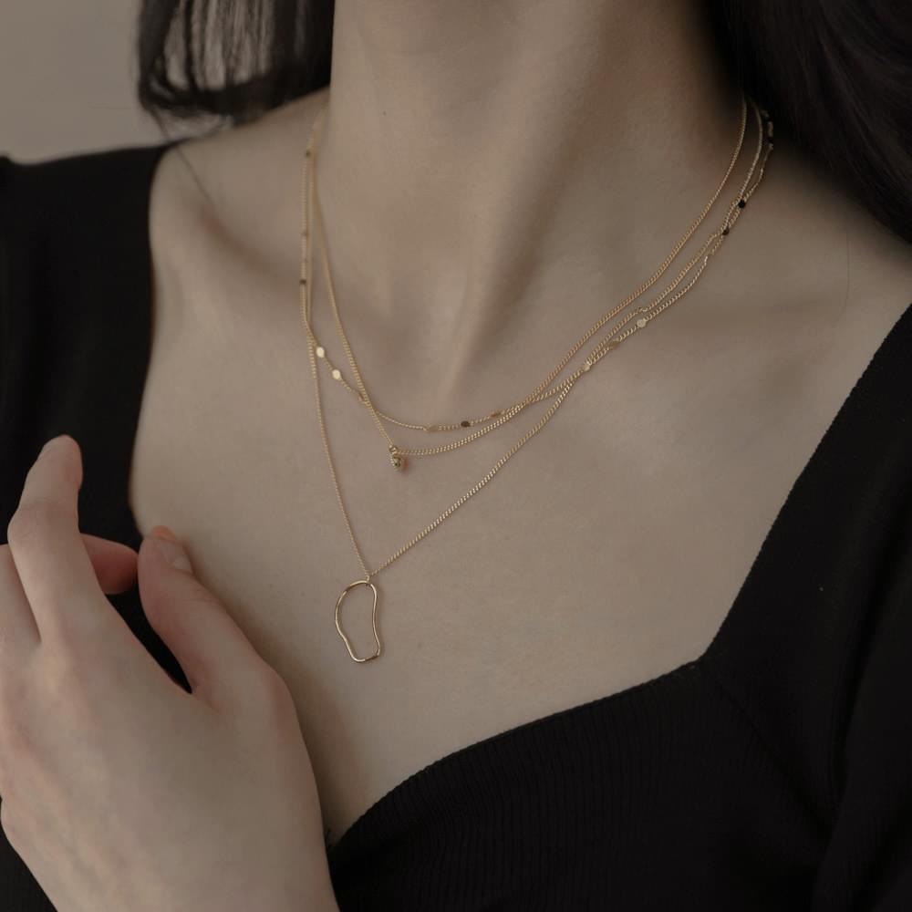 935 3 line layered necklace