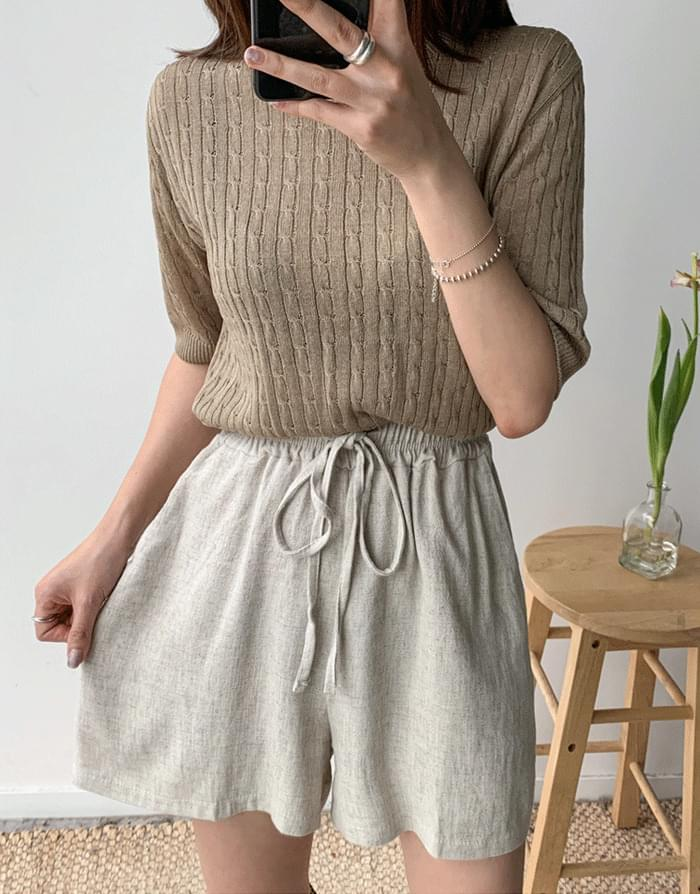 Twist short sleeve knit