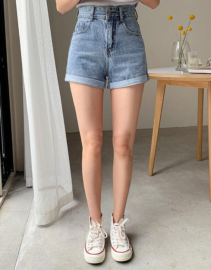 High roll up shorts