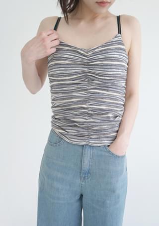 stripe shirring sleeveless タンクトップ