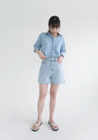 side cut-off denim shorts ショートパンツ
