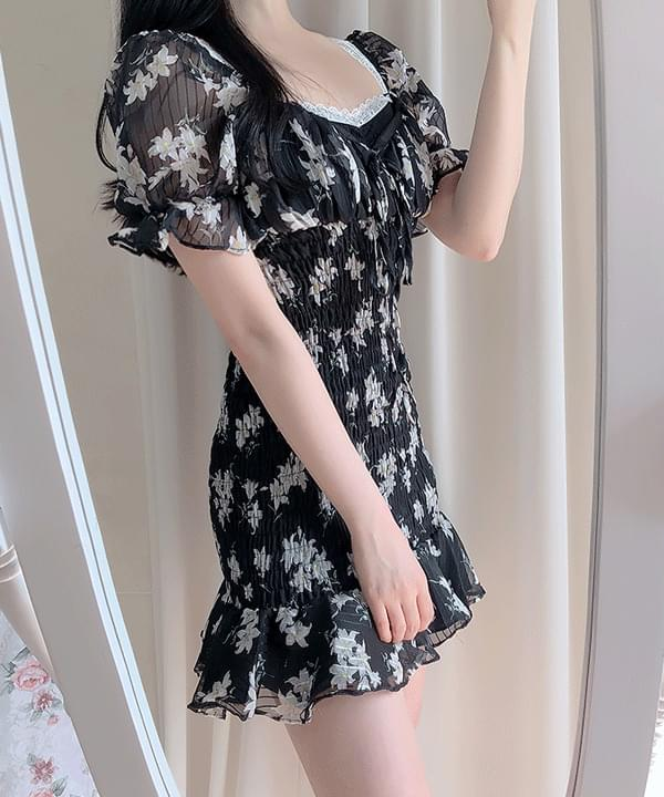 Lisha Flower Smoke Dress 洋裝