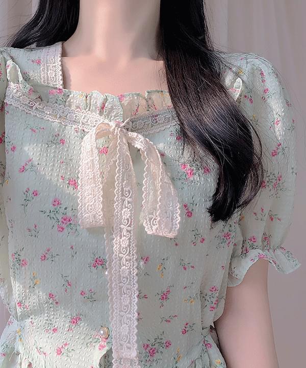 Ari Flower Ribbon Blouse
