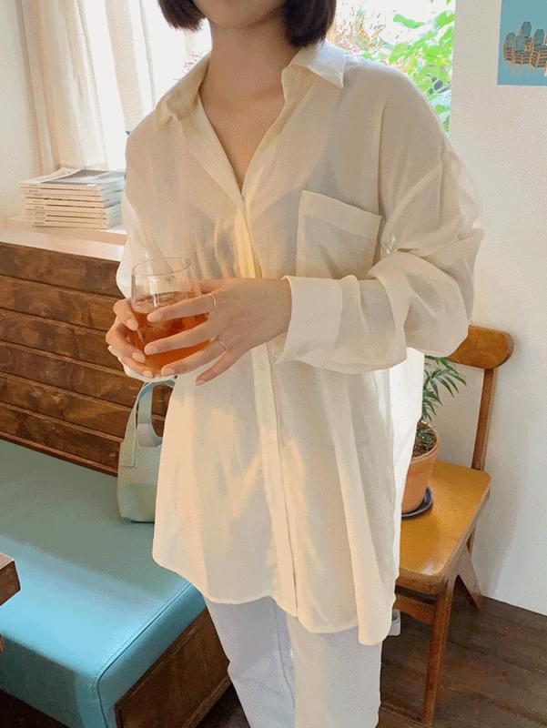 See-through boxy-fit shirt