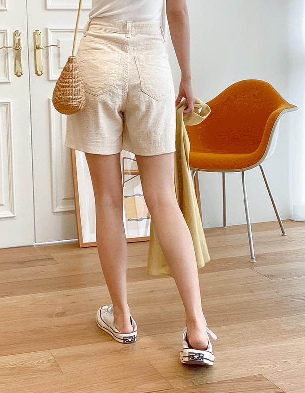 Natural washed cotton shorts