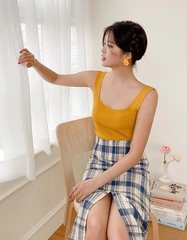 Linen coloring check skirt