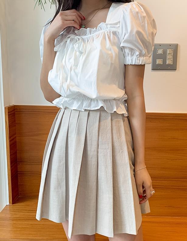 Shirring ribbon mini blouse