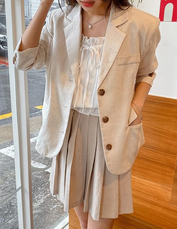 Single-button linen blend jacket
