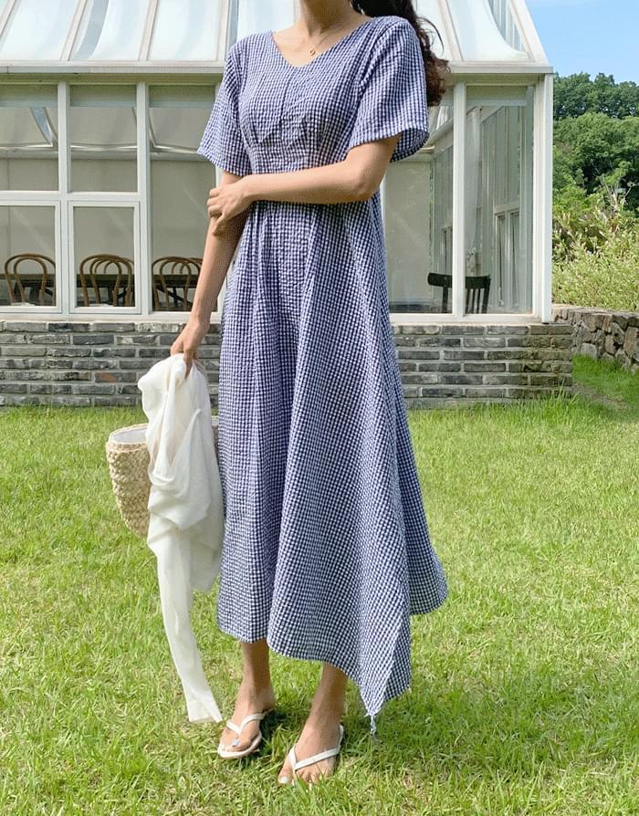 Foaming Seersucker Check Long Dress