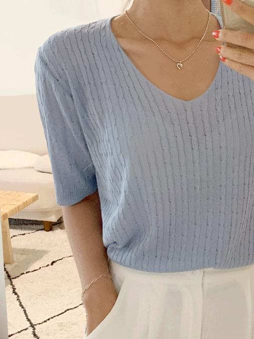Day Peach V Neck Short Sleeve Knit
