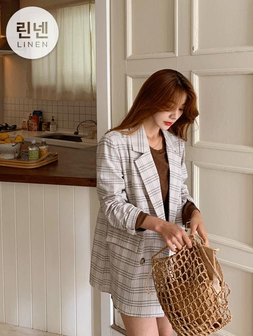 Toffee linen check overfit jacket
