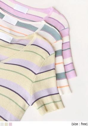 粉彩配色條紋短袖針織外套