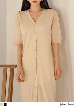 V領短袖排釦針織長洋裝