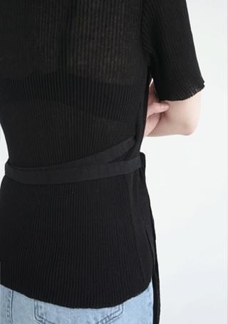 slim-fit wrap knit ニット