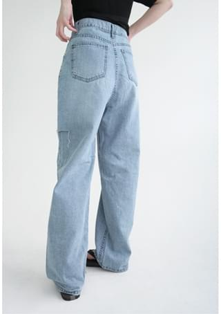 side cut-off denim pants デニムパンツ