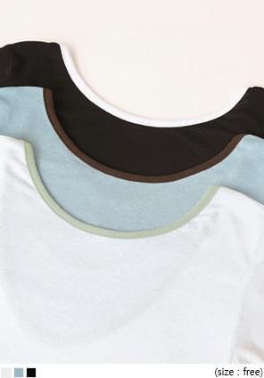 露背大U領混天絲短袖T恤