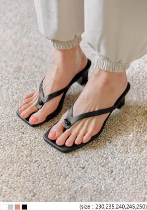 方頭粗跟綁結造型夾腳拖鞋