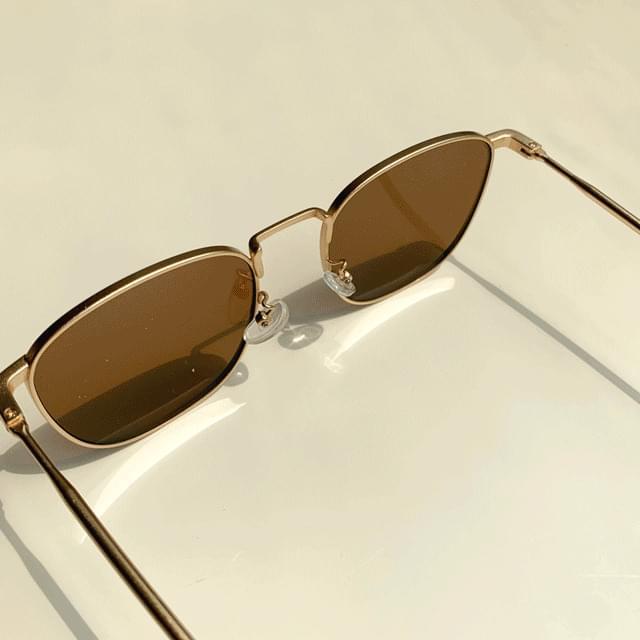 Square Gold Line UV400 Sunglasses 2color