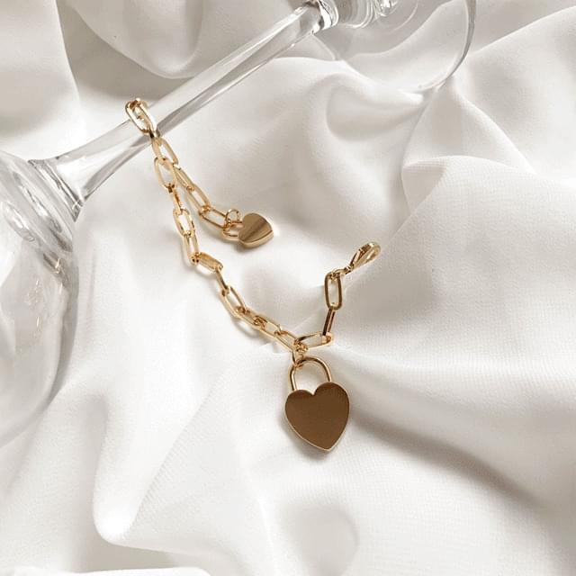 Two Heart Bold Chain Bracelet 2color