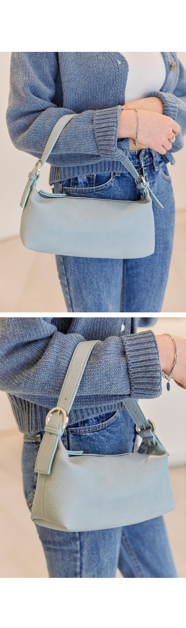 圓圈釦飾拉鍊長方手提小包