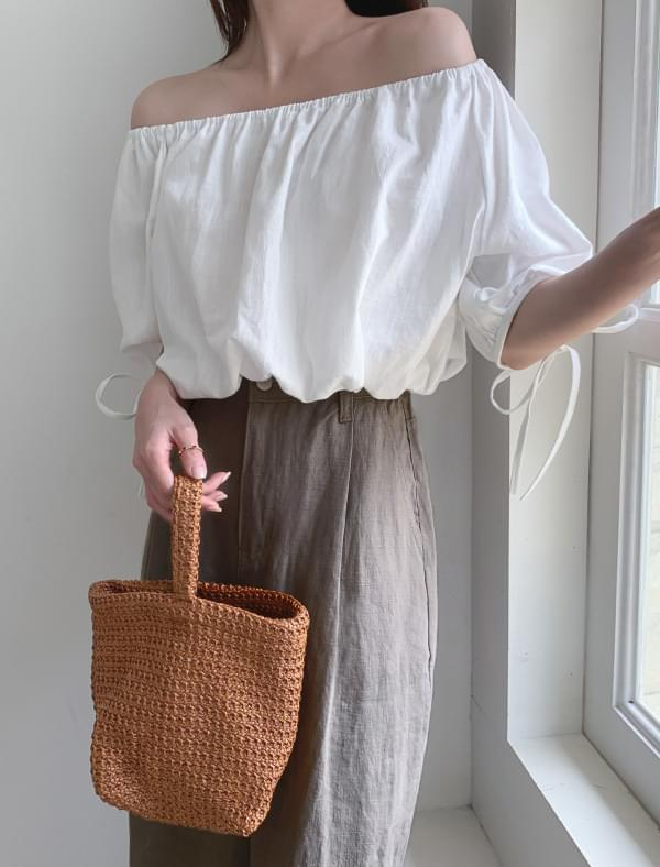 2 way crop linen blouse 襯衫