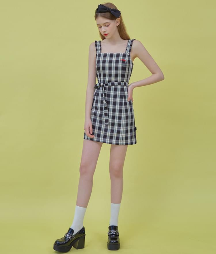 Heart Check Sleeveless Dress 洋裝