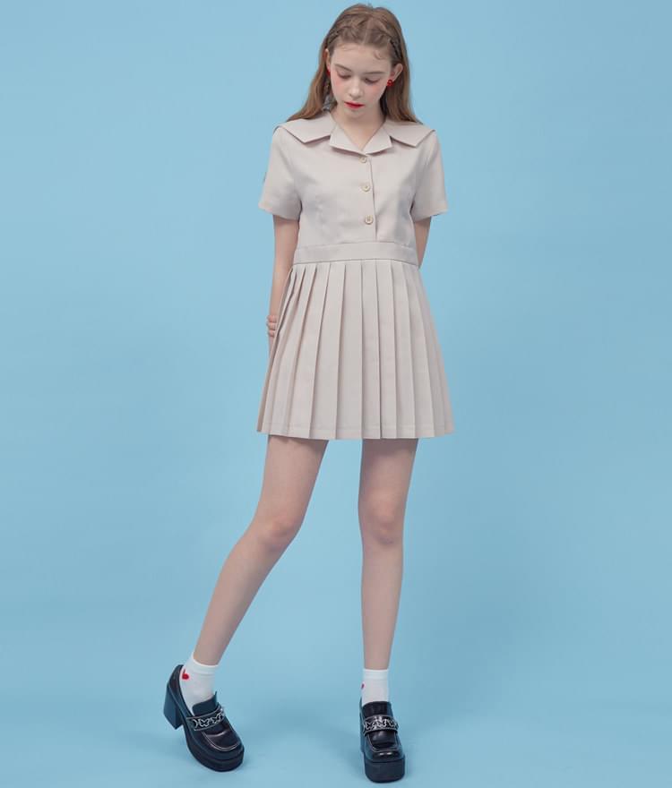 Heart Pleats Sailor Dress 洋裝