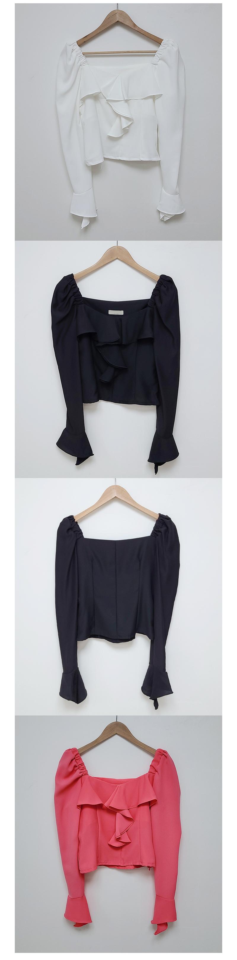 Melting frill off shoulder blouse