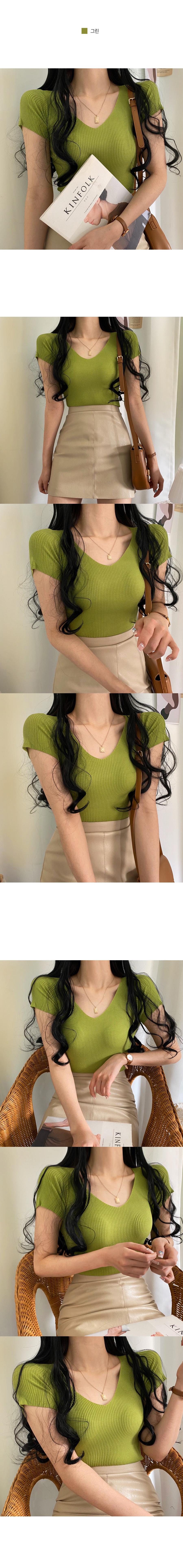 Classic V Ribbed Short Sleeve Knit