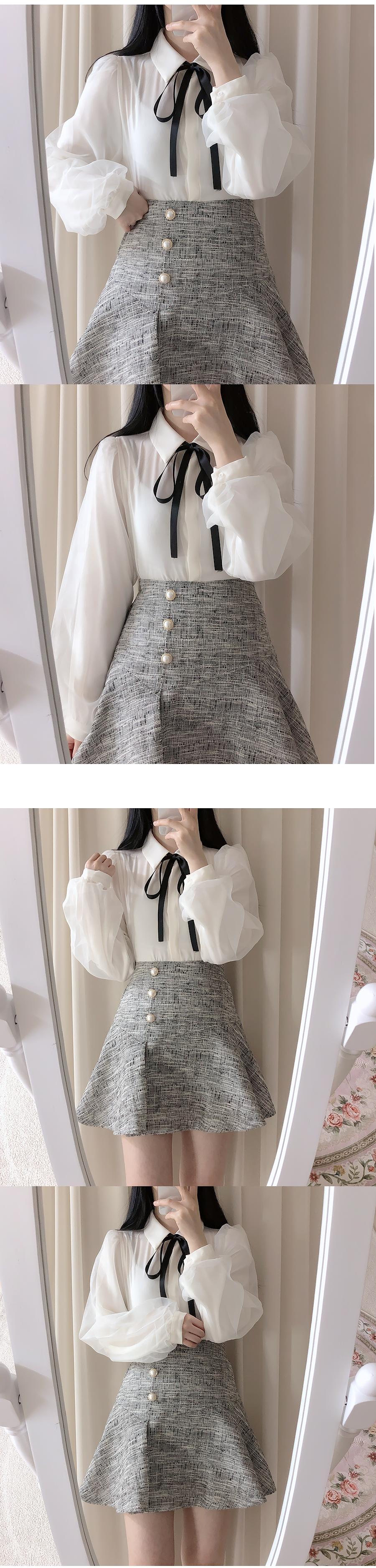 Bunny tweed pearl skirt