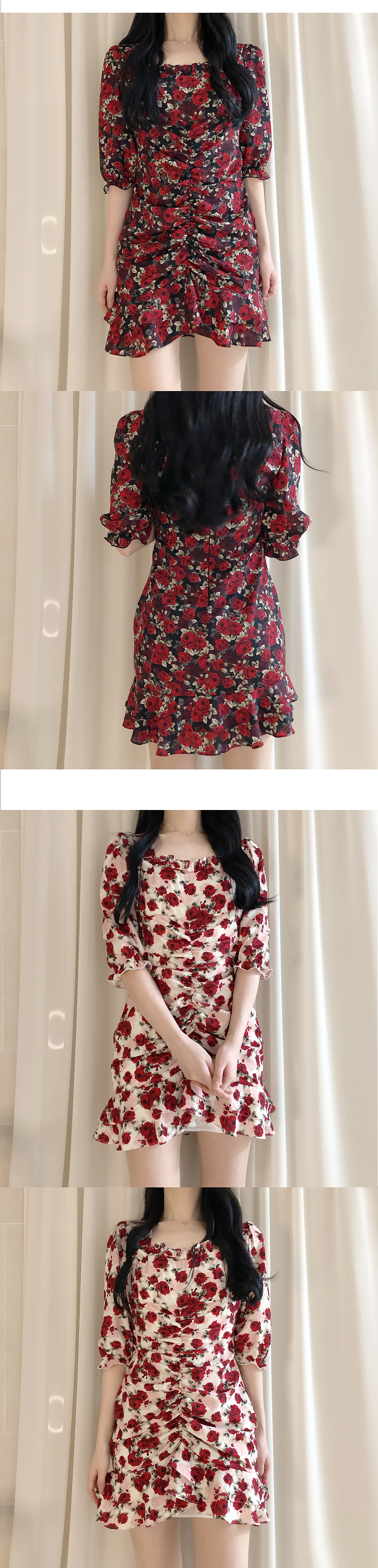 Mortal Rose Shirring Dress