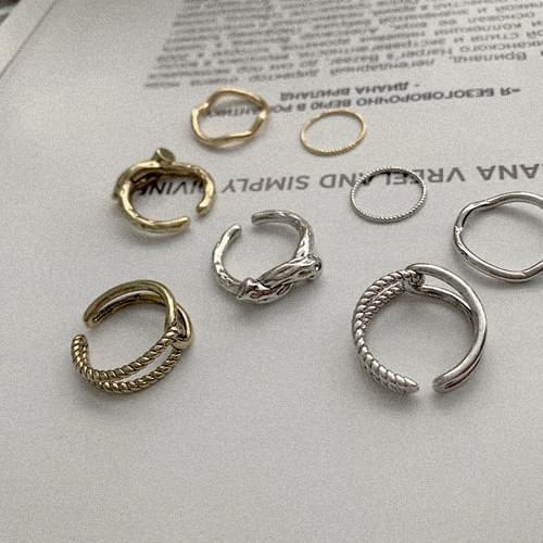 復古高貴扭結開口戒指4件組