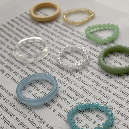 壓克力串珠設計戒指2件組