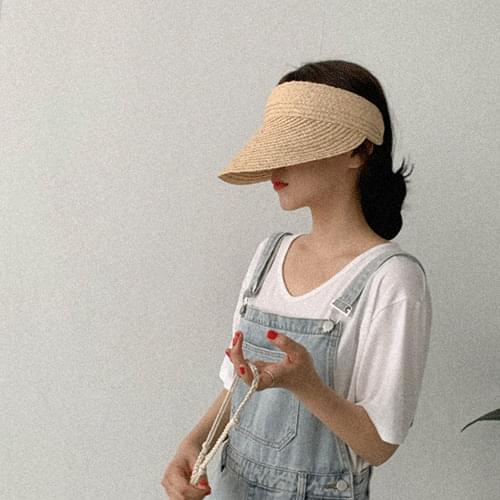 質感拉菲草空頂遮陽帽