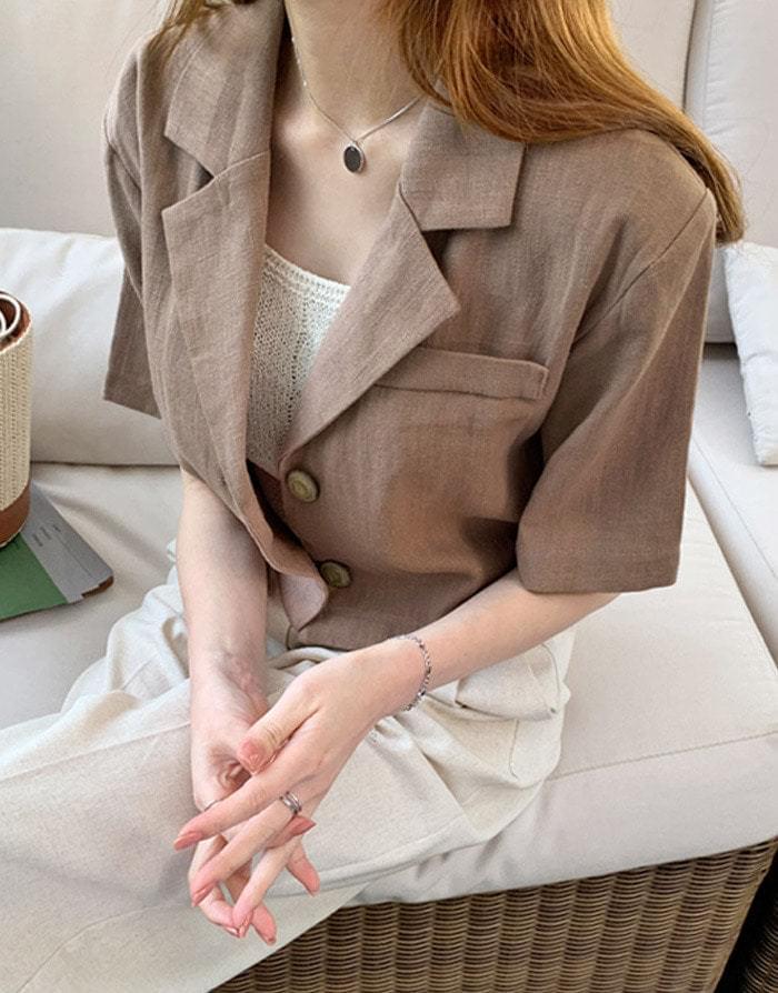More & Linen cropped short jacket 夾克外套