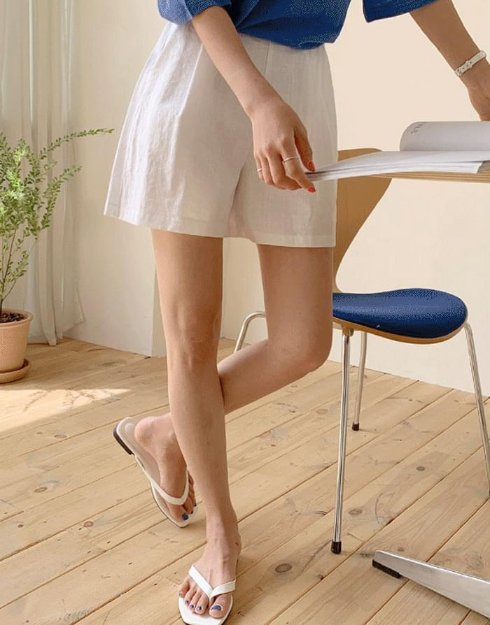 Day linen banding short pants