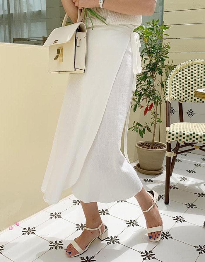 Linen Roche Lap Long Skirt