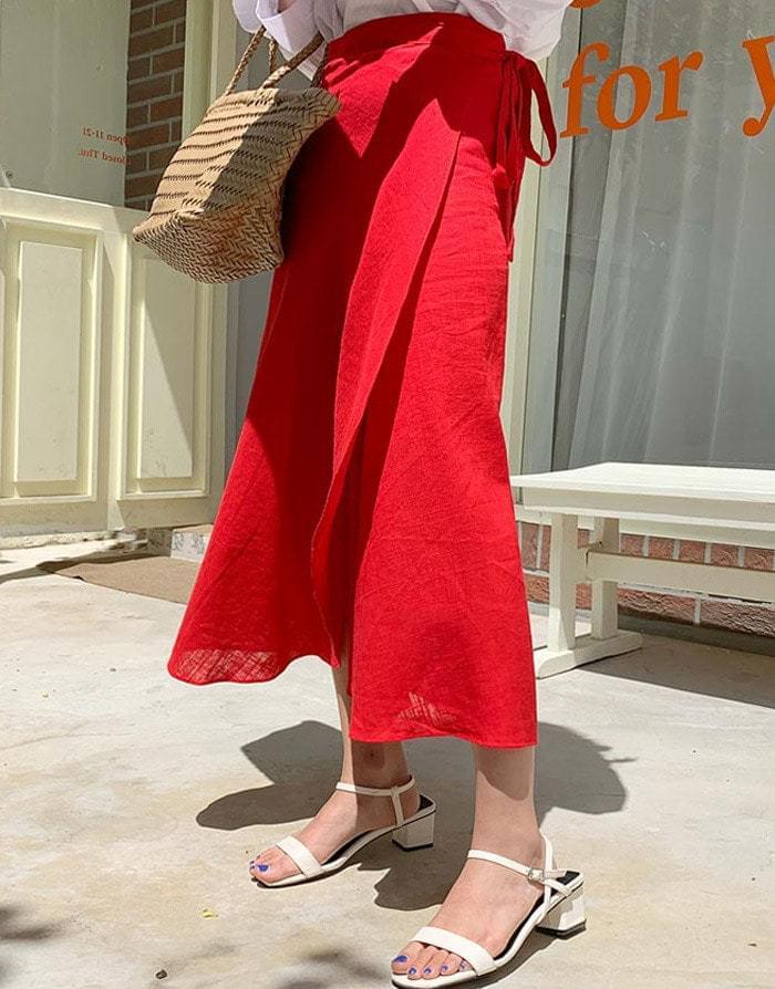 Linen refreshing wrap long skirt