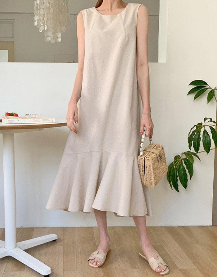Evening linen ruffle long dress