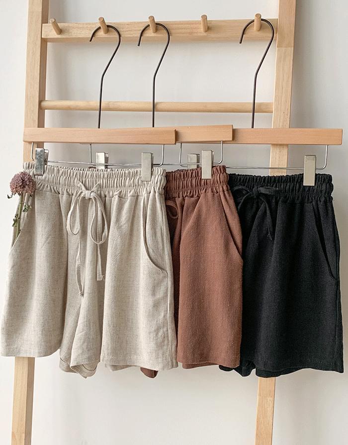 Linen banding pants