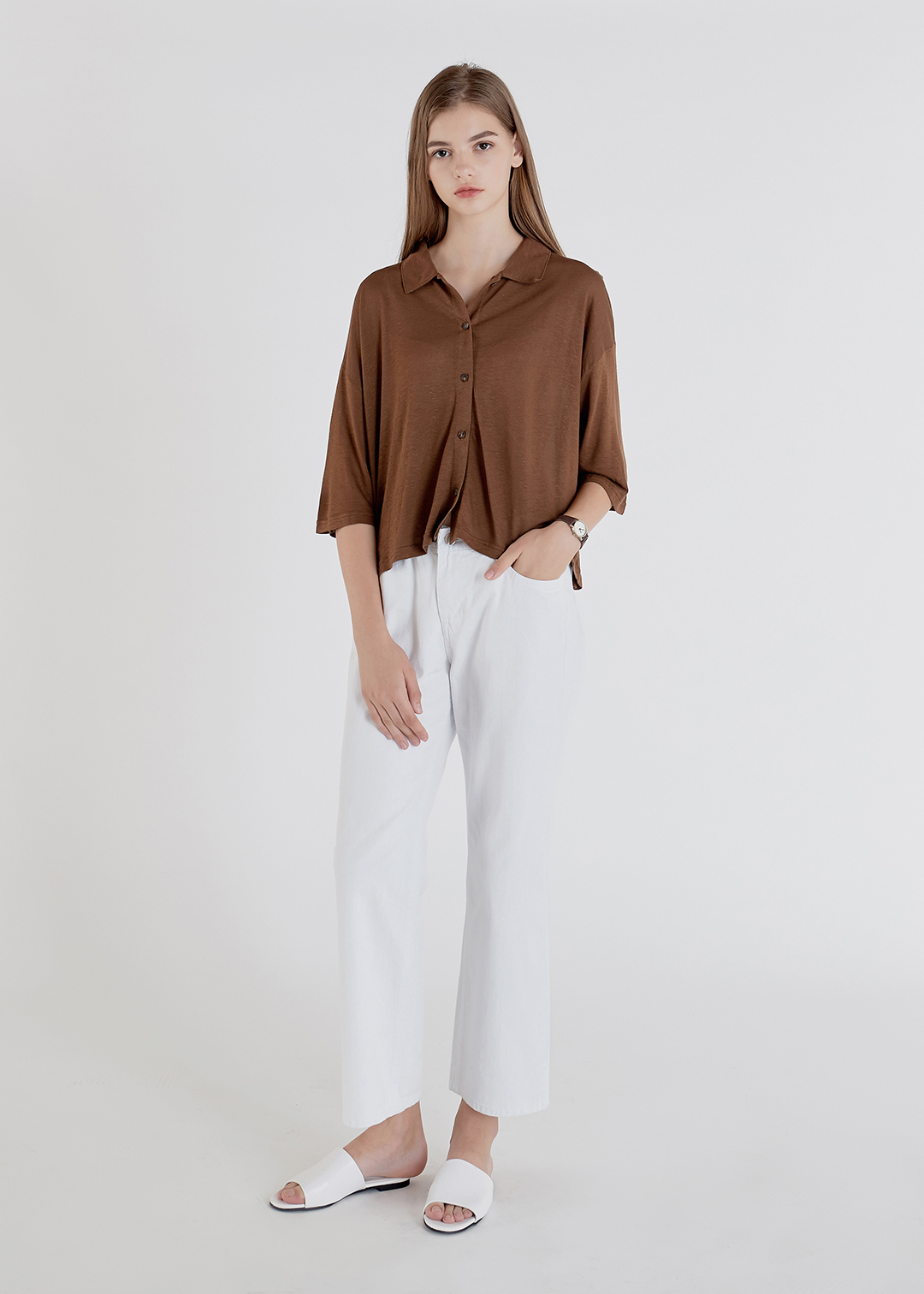 Loose Button Up Cotton Shirt