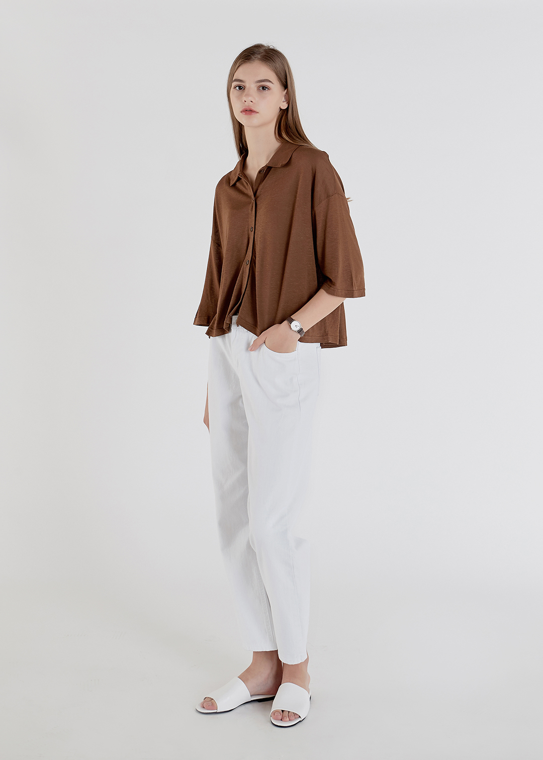 Loose Button Up Cotton Shirt