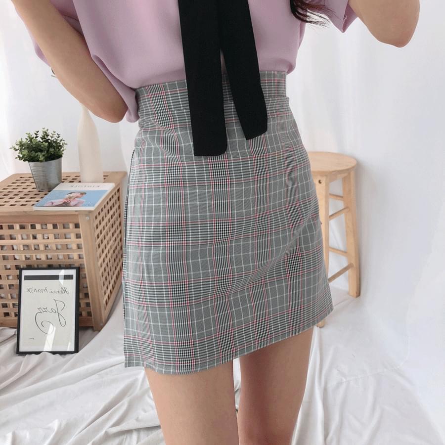ENC check mini skirt 裙子